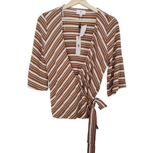 Socialite Brown and White Stripe Wrap Top L NWT